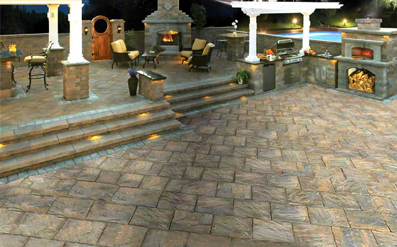 custom stone patio by City Wide Paving and Masonry